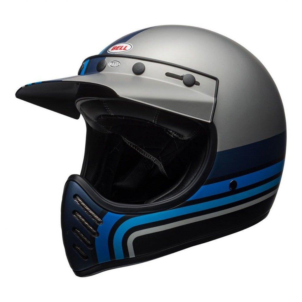 Image of BELL MOTO 3 HELMET - STRIPES SILVER / BLACK / BLUE