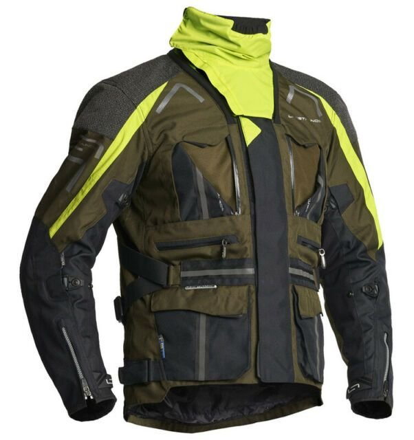 Image of LINDSTRANDS OMAN TEXTILE VENTED WATERPROOF JACKET - BLK/KIWI