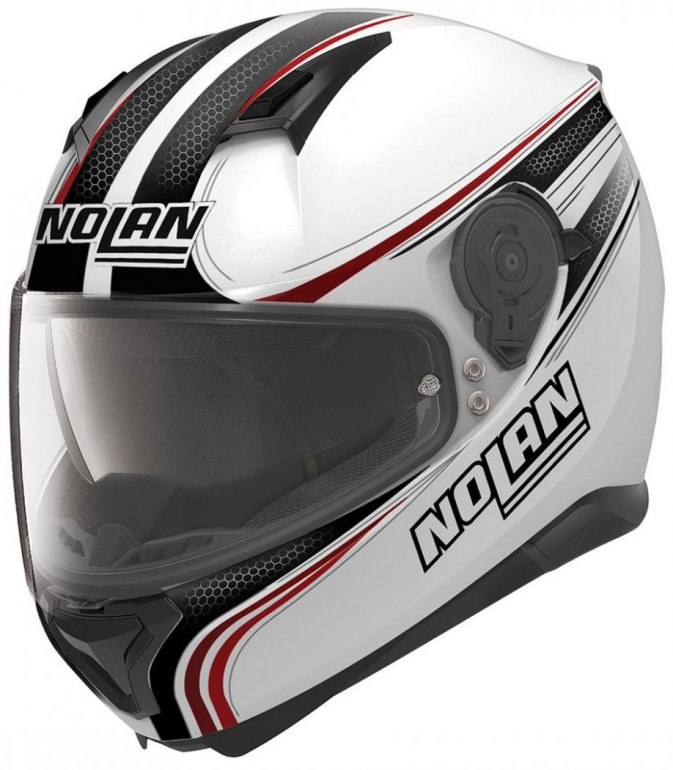 Image of NOLAN N87 RAPID N-COM - METAL WHITE/BLK/RED