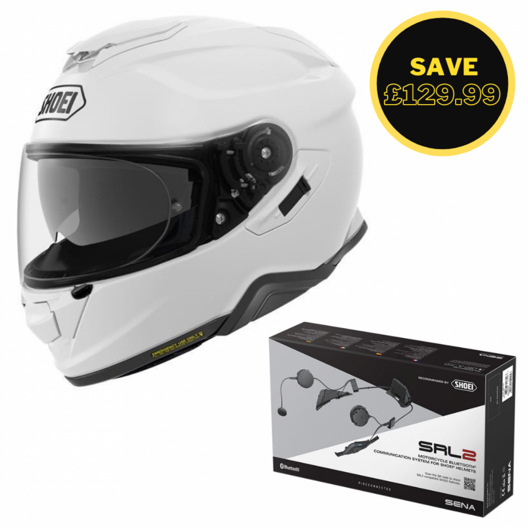 Image of SHOEI GT AIR 2 - PLAIN WHITE + SENA SRL 2 BUNDLE