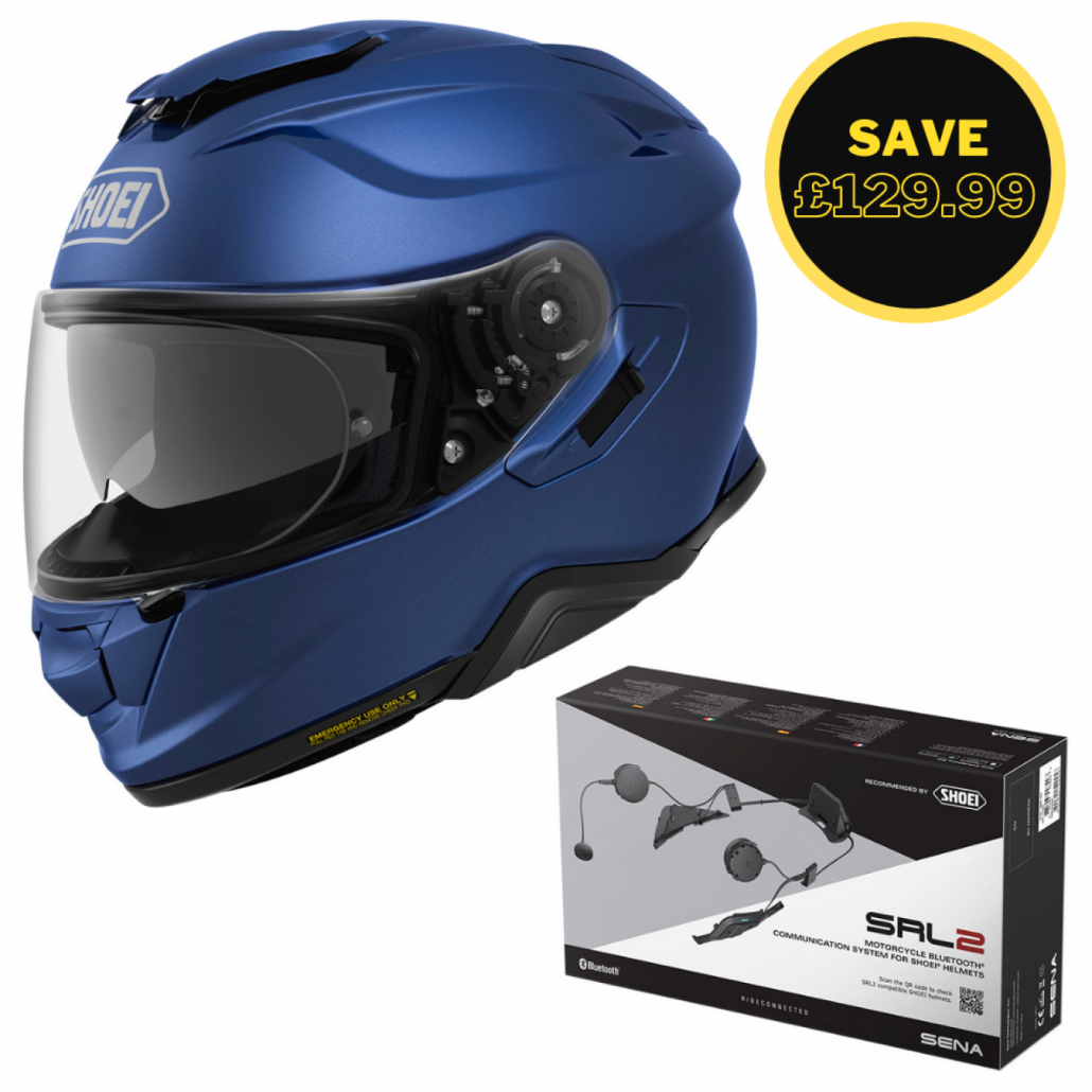 Image of SHOEI GT AIR 2 - MATT BLUE + SENA SRL 2 BUNDLE