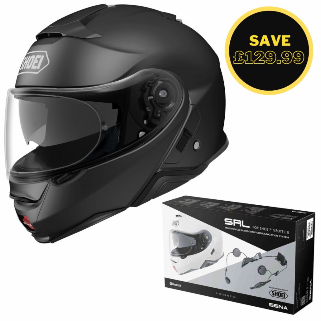Image of SHOEI NEOTEC 2 - MATT BLACK + SENA SRL BUNDLE
