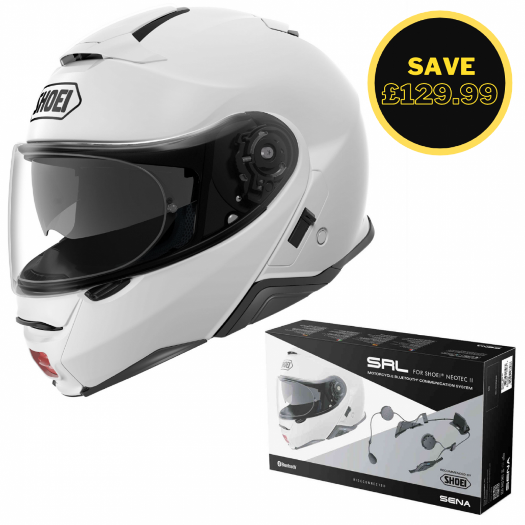 Image of SHOEI NEOTEC 2 - PLAIN WHITE + SENA SRL BUNDLE