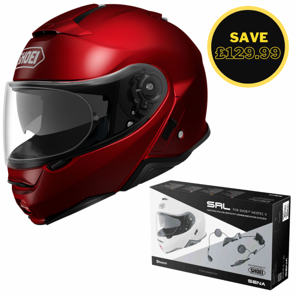Image of SHOEI NEOTEC 2 - PLAIN WINE RED + SENA SRL BUNDLE