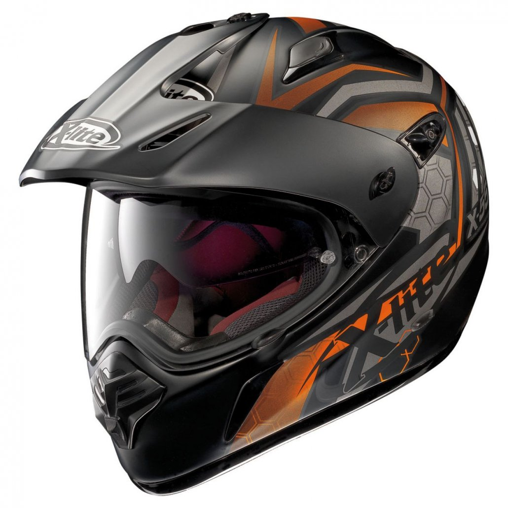 Image of X-551 GT On/Off Road Full Face Kalahari N-Com Flat Black/Orange