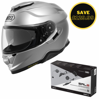 SHOEI GT AIR 2 - LIGHT SILVER + SENA SRL 2 BUNDLE image
