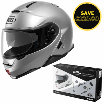 SHOEI NEOTEC 2 - LIGHT SILVER + SENA SRL BUNDLE image