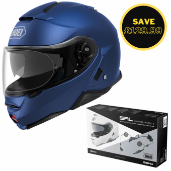 SHOEI NEOTEC 2 - MATT BLUE + SENA SRL BUNDLE image