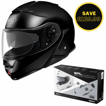 SHOEI NEOTEC 2 - PLAIN BLACK + SENA SRL BUNDLE image