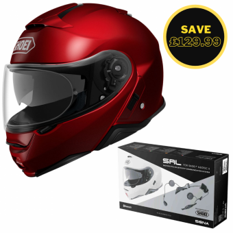 SHOEI NEOTEC 2 - PLAIN WINE RED + SENA SRL BUNDLE image