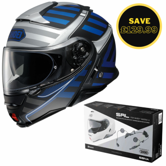 SHOEI NEOTEC 2 - SPLICER TC2 BLUE + SENA SRL BUNDLE image
