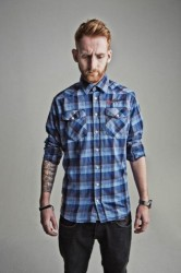 V TWIN CHECK SHIRT BLUE image